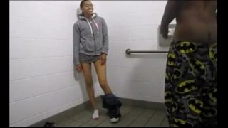 Black twins fuck in a fastfood restroom