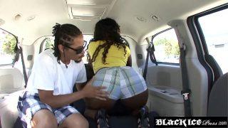 Bootylicious ebony slut Envy Luv gets hammered in a car