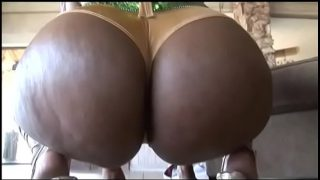 Ebony blonde Koko Kabana rides cock and shows her chubby ass