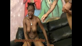 Ebony Flo Is Throated And Slammed By White Dicks