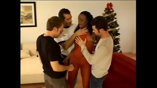 Three horny white studs destroy all holes of juicy ebony cutie Chastity in red outfit with their big dicks